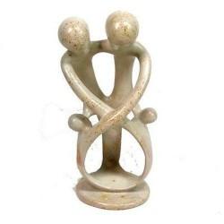 Natural 8-inch Tall Soapstone Family Sculpture - 2 Parents 2 Children - Smolart