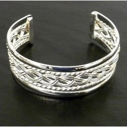 Silver Overlay Cuff Braided Design
