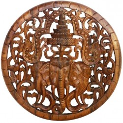 Teak Wood Lotus Panel 3 Elephant Round 60 cm Clear Oil