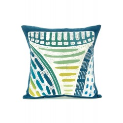 Zambian Hand Painted Blue Lagoon Pillow Cover